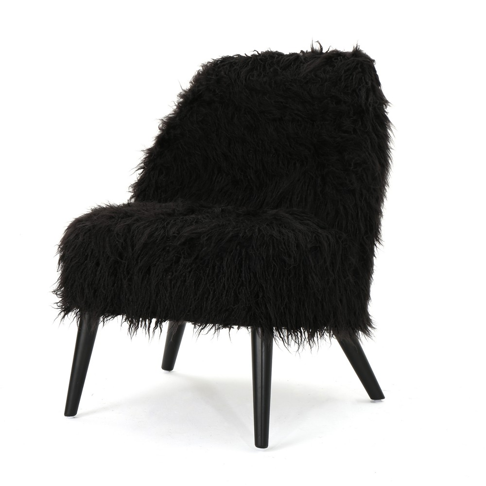 Cheryiie Faux Fur Accent Chair Black - Christopher Knight Home