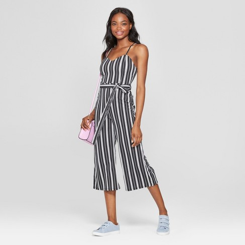 ad0d5457a4ba Women s Striped Sleeveless Sweetheart Neckline Jumpsuit - Almost Famous  (Juniors ) Black White