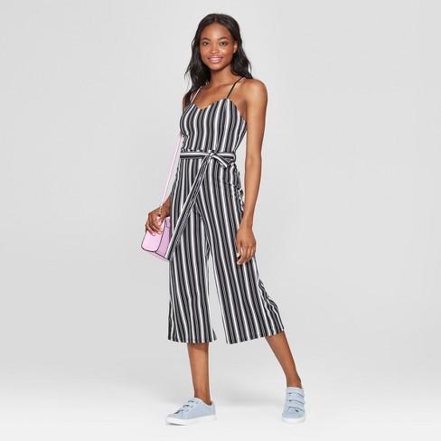 f9813287c2b2 Women s Striped Sleeveless Sweetheart Neckline Jumpsuit - Almost Famous  (Juniors ) Black White