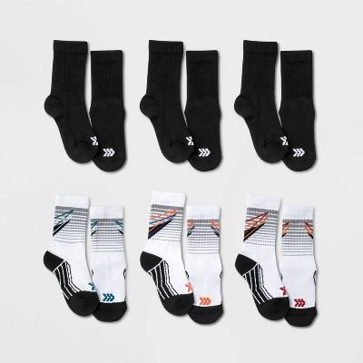 Boys' 6pk Striped Crew Socks - All in Motion™ Black/White
