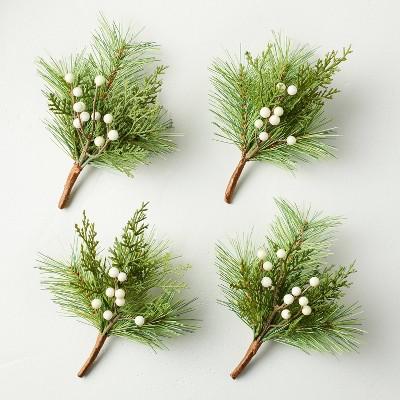 4pc Mini Faux Pine with Snowberries Plant Bundle Set - Hearth & Hand™ with Magnolia
