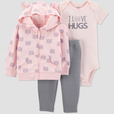 Baby Girls' 3pc Bear Cardigan Set - Just One You® made by carter's Pink Newborn