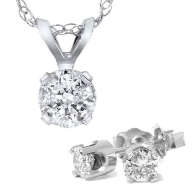 Pompeii3 1 5/8 Carat Diamond Solitaire Necklace & Studs Earrings Set 14K White Gold