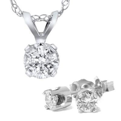 Pompeii3 1 5/8 Carat Diamond Solitaire Necklace & Studs Earrings Set 14K White Gold