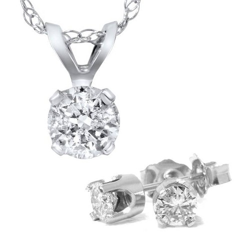 Pompeii3 1 5/8 Carat Diamond Solitaire Necklace & Studs Earrings Set 14K White Gold - image 1 of 3