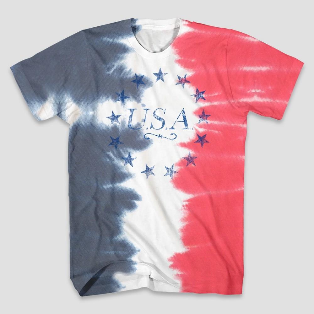7c8a7b2424b9c Mens Tie Dye USA Short Sleeve Graphic T Shirt XL Multicolored