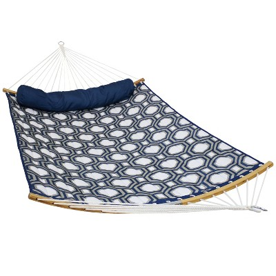 Quilted Hammock with 2-Pc Curved Bamboo Spreader Bars - Blue/Gray - Sunnydaze Decor