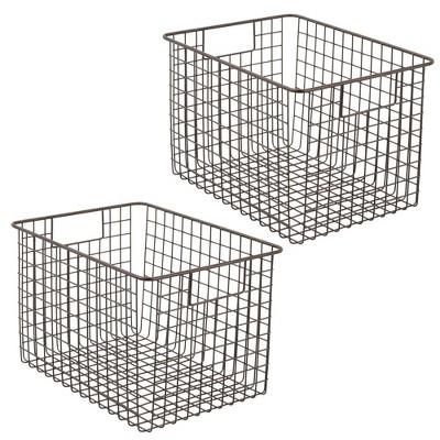 mDesign Metal Wire Food Storage Organizer Bin, Pack of 2