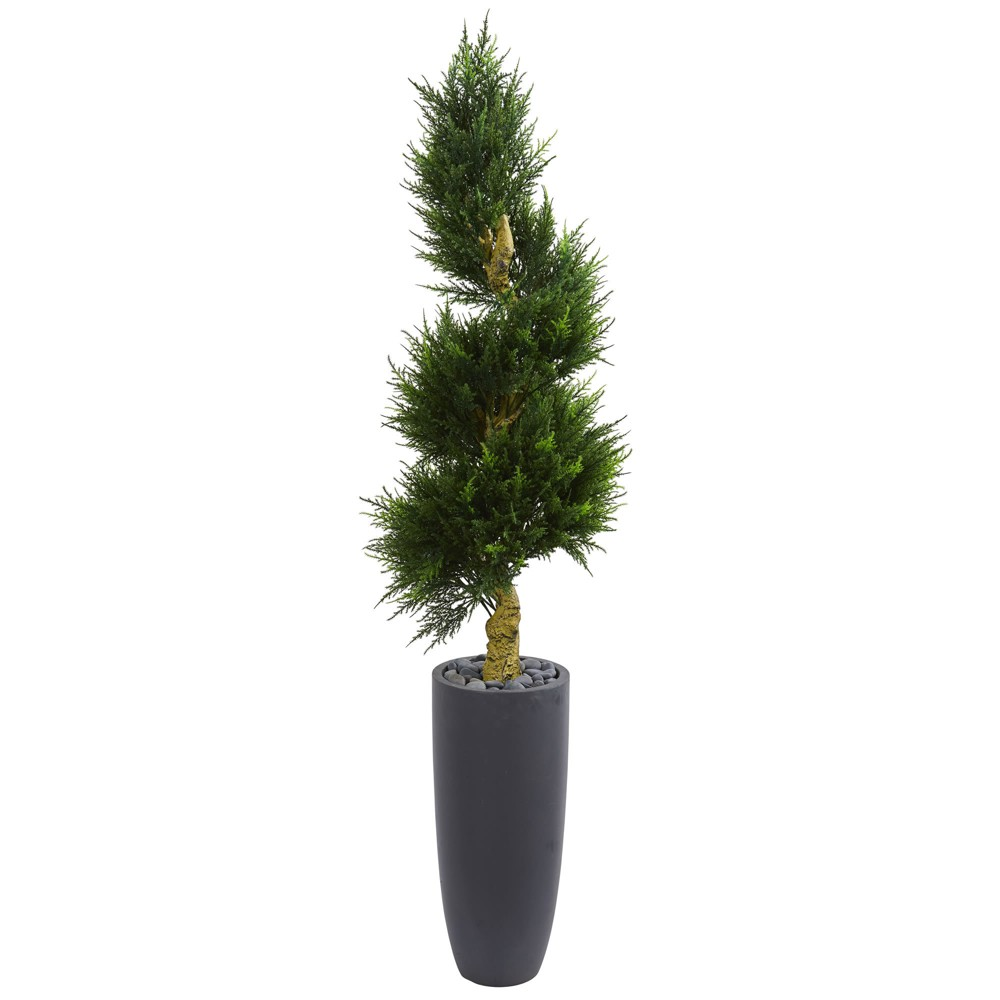 6ft Spiral Cypress Artificial Tree In Cylinder Planter - Nearly Natural, Green