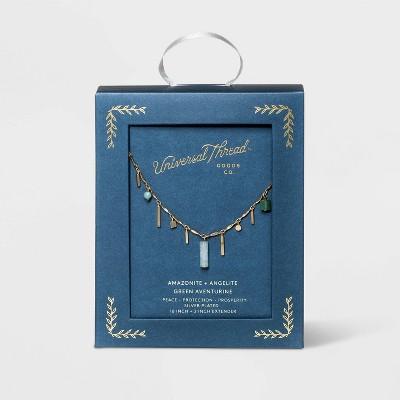 Mixed Semi-Precious Amazonite, Angelite and Green Aventurine Charm Station Necklace - Universal Thread™ Light Green