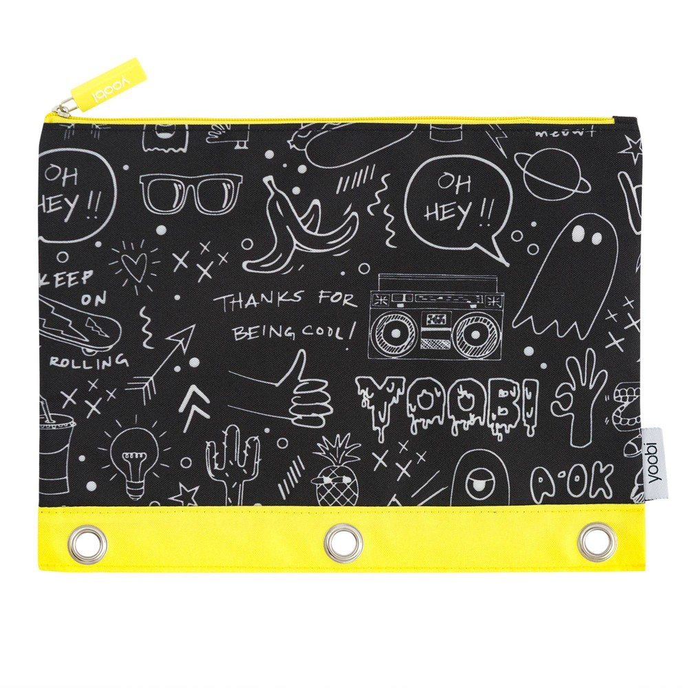 Image of Binder Zip Case Doodles - Black/White - Yoobi