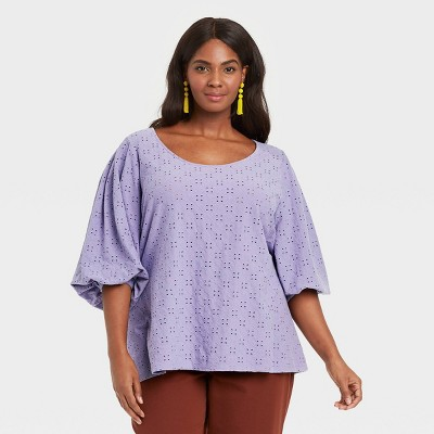 Women's Plus Size Knit Eyelet Top - Ava & Viv™