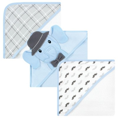 Hudson Baby Infant Boy Cotton Rich Hooded Towels, Blue Charcoal Elephant, One Size