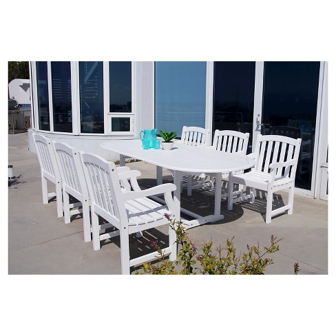 Vifah Bradley Eco Friendly 7 Piece Outdoor White Dining Set With