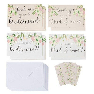 24-Pack Bridal Party Kit with Envelope- 12 Thank you & 12 Proposal Cards