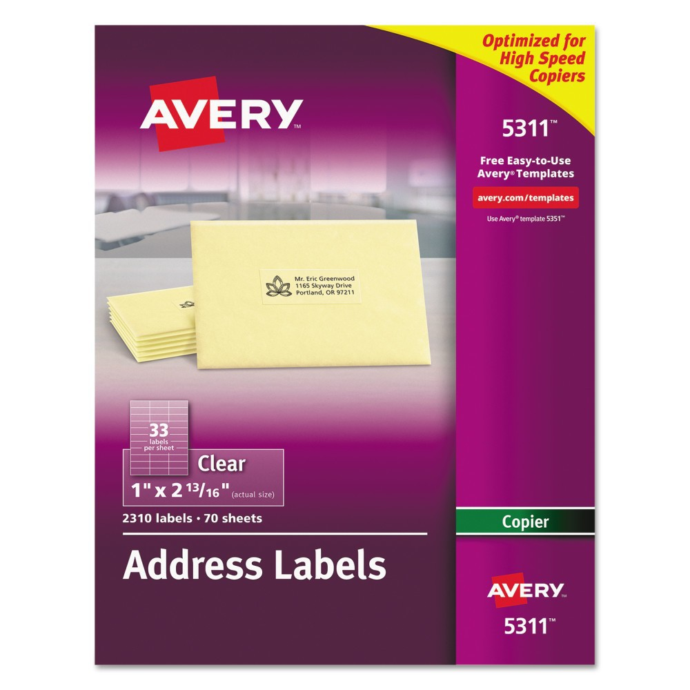 Avery 1 x 2-13/16 Self-Adhesive Mailing Labels for Copiers- Clear (2310 per Pack) Send mail with a custom printed-on look with these Clear Address Labels. Labels virtually disappear on white and light colored surfaces. They make it easy to ship products and send invoices on the spot. Create a master sheet of return addresses or use mail merge to reach your entire customer base. Free templates and designs from Avery Design and Print will help take care of margin settings and spacing. All you do is fill in names and addresses, print through a copier and apply. Label Size - text: 1 x 2 13/16; Label Color(s): Clear; Machine Compatibility: Copiers; Sheet (W x L): 8 1/2 x 11. Age Group: Adult.