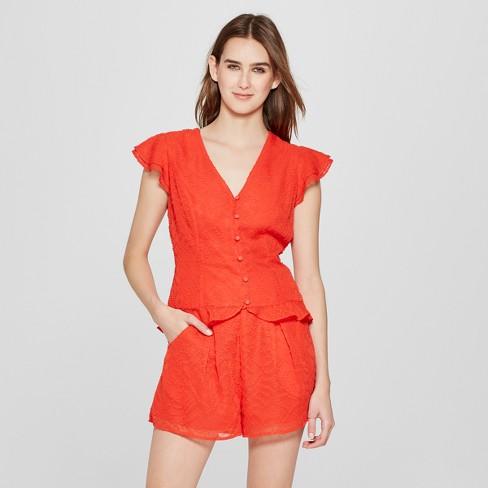 84e1d448ab5c Women s Short Flutter Sleeve Button-Up Blouse - Éclair Red XS   Target