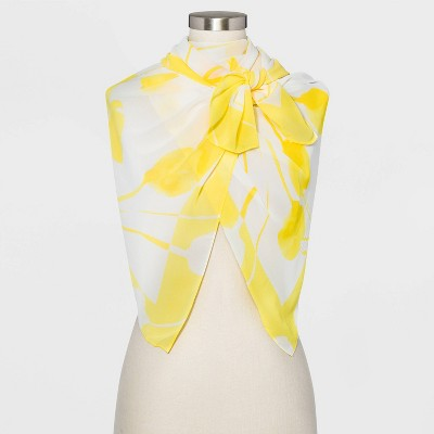 Women's Floral Print Square Crepe Scarf - A New Day™ Yellow One Size