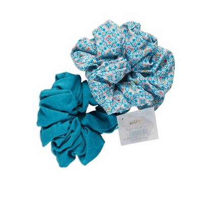 scunci Collection Jumbo Scrunchie - Blue - 2pk