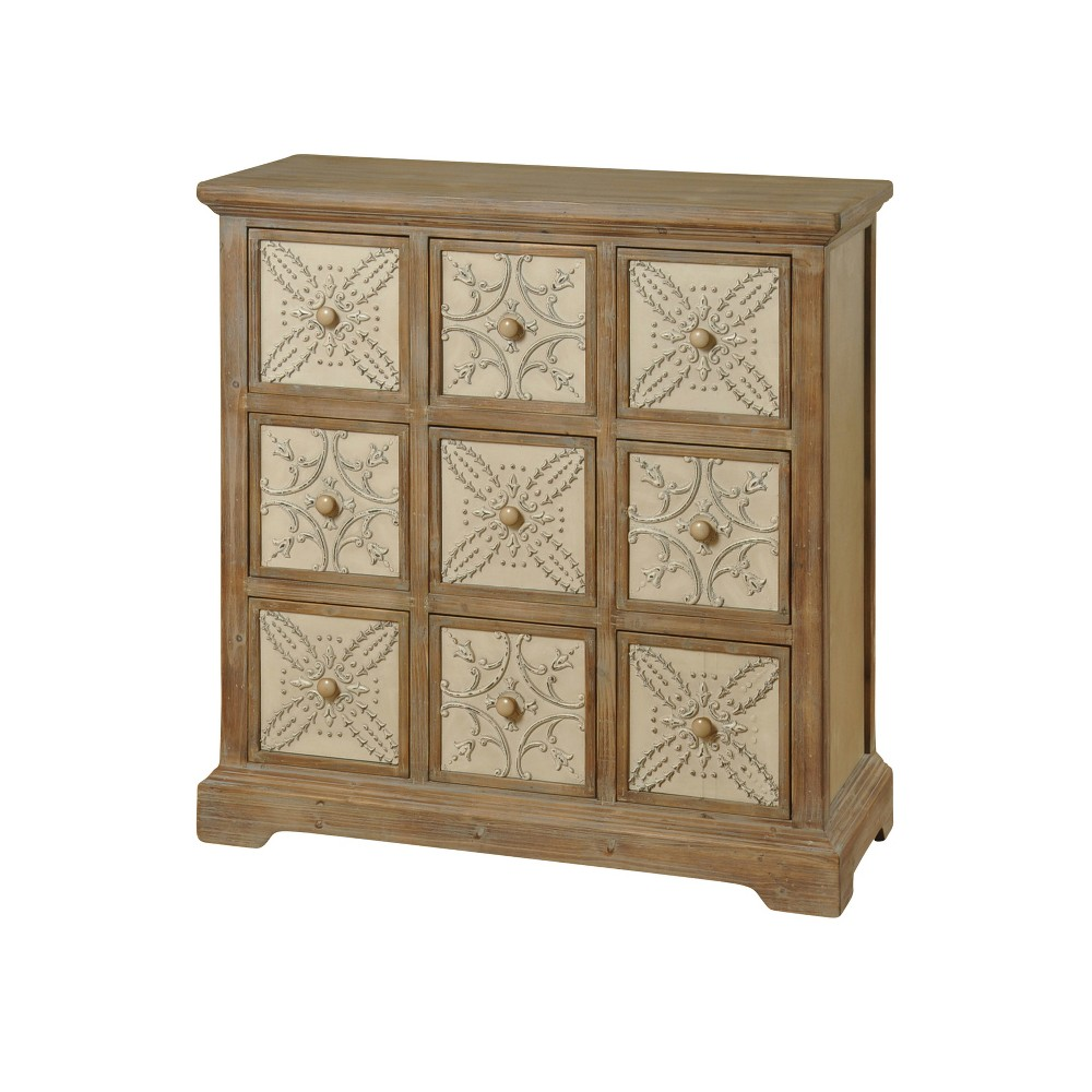 9 Drawer Apothecary Chest with Metal Panels Natural - Stylecraft