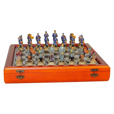 """WorldWise Imports 3.25"""" Civil War Generals Painted Resin Men Chess Set with Cherry Stained Chess Board Game - image 1 of 2"""