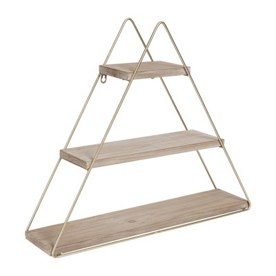 "24.2"" x 21"" Tilde Three-Tier Triangle Wood and Metal Wall Shelf - Kate & Laurel All Things Decor"