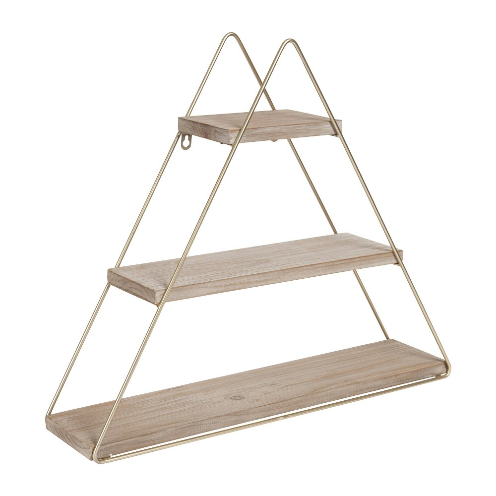 """Image of """"20.8"""""""" x 24.2"""""""" Tilde Three-Tier Triangle Wood and Metal Wall Shelf Brown/Gold - Kate & Laurel All Things Decor"""""""