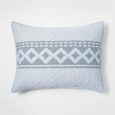 Blue Chambray Stitch Pillow Sham (Standard)- Threshold™
