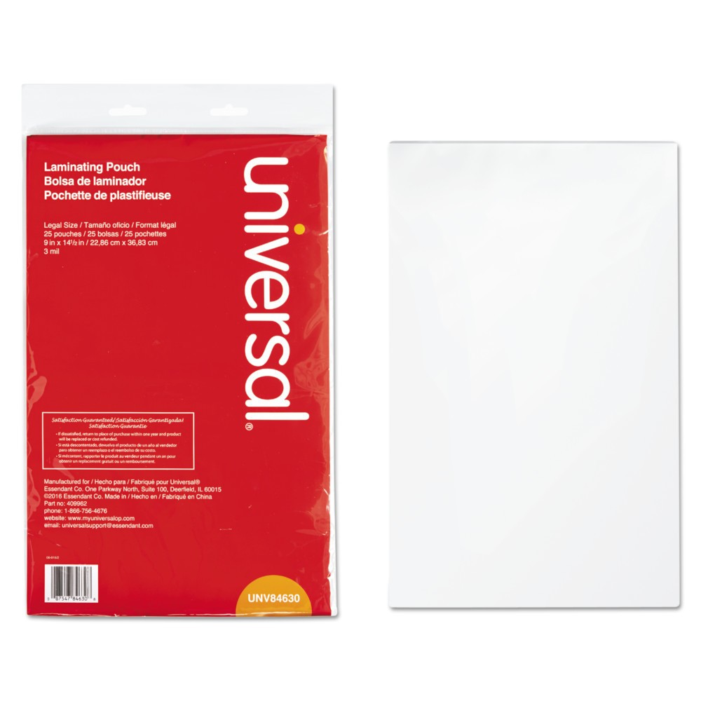 Universal Clear Laminating Pouches 9 x 14.5 25ct