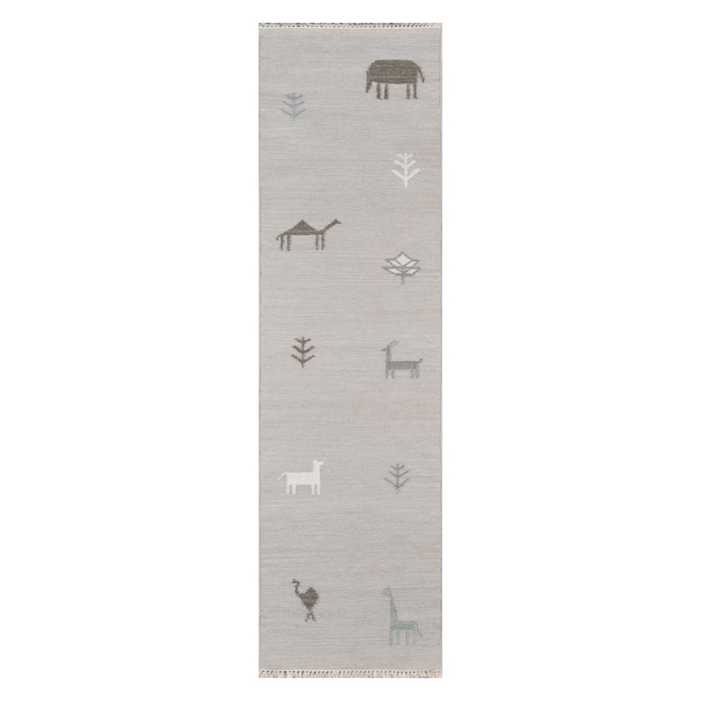 Image of 2'3X8' Animal Print Woven Runner Gray - Erin Gates By Momeni