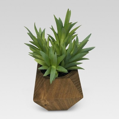 Artificial Layered Leaf Plant in Wood Pot Small - Threshold™