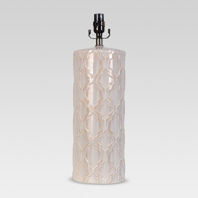 Lattice Ceramic Large Lamp Base Cream Includes Energy Efficient Light Bulb - Threshold™