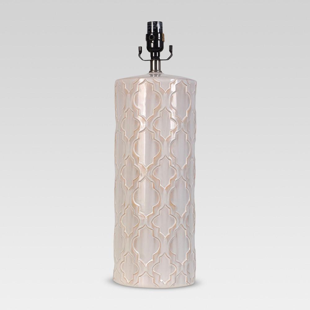 Image of Lattice Ceramic Large Lamp Base Cream Includes Energy Efficient Light Bulb - Threshold