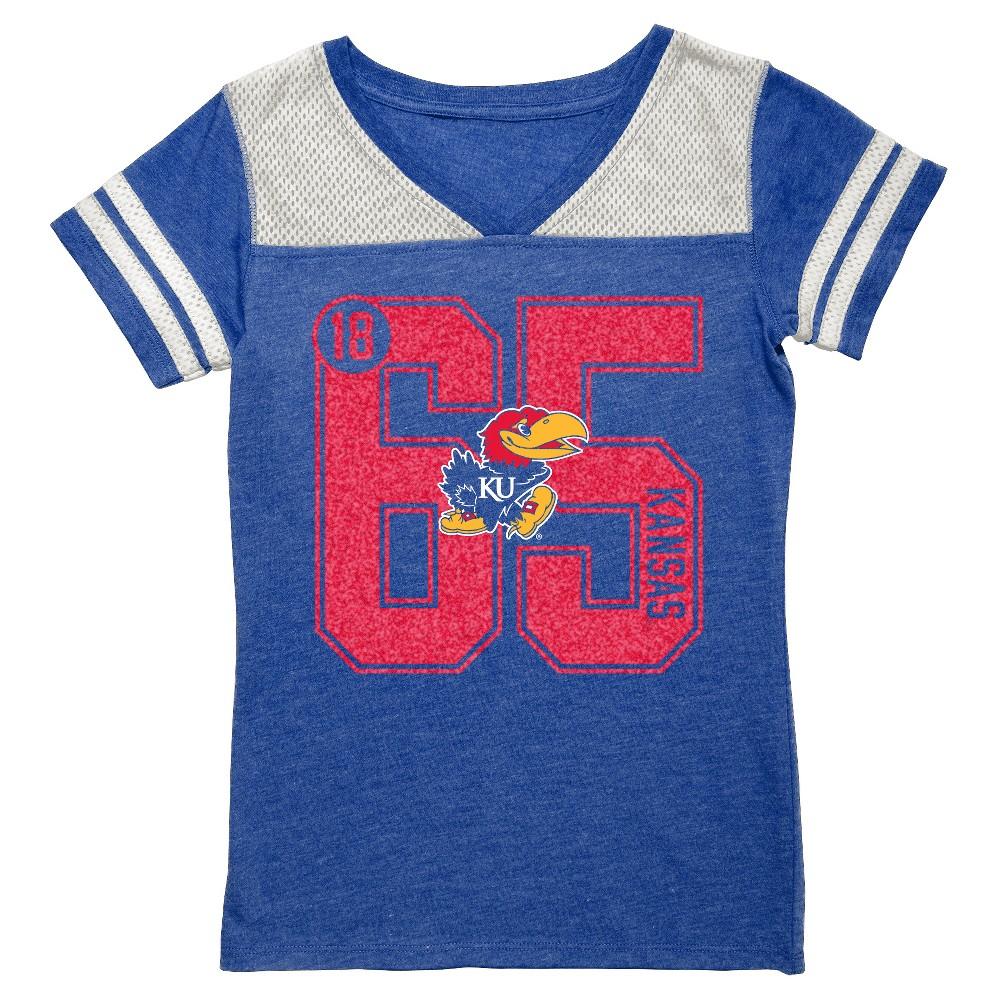 NCAA Kansas Jayhawks Girls' V-Neck Tunic Shirt - L, Blue