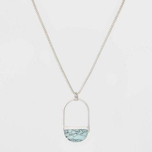 Open Oval Wire Semiprecious Turquoise Pendant Necklace - Universal Thread™ Light Blue - image 1 of 2