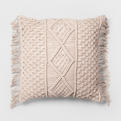 Cream Macrame Oversize Square Throw Pillow - Opalhouse™