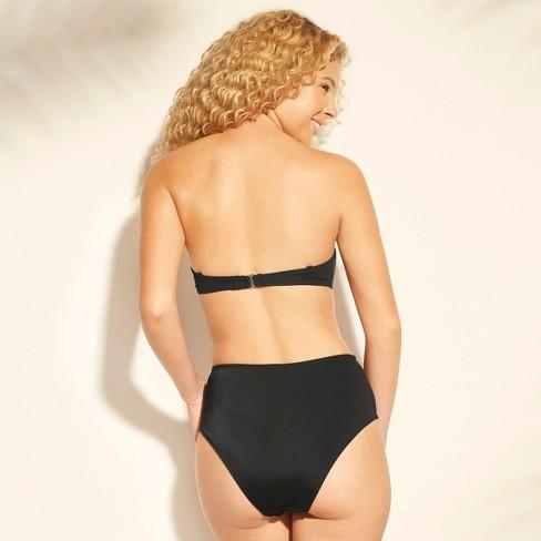 da9edbe7c2e67 Women s Ribbed V Wire Bandeau Bikini Top - Xhilaration™ Black   Target