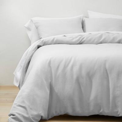 Full/Queen Linen Duvet & Sham Set Light Gray - Casaluna™