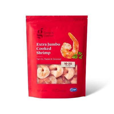 Peeled & Deveined Tail On Cooked Shrimp - Frozen - 16-20ct/16oz - Good & Gather™