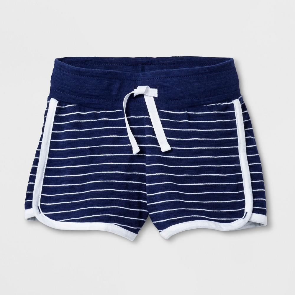 Toddler Girls' Trouser Shorts - Cat & Jack Navy Stripe 12M, Blue