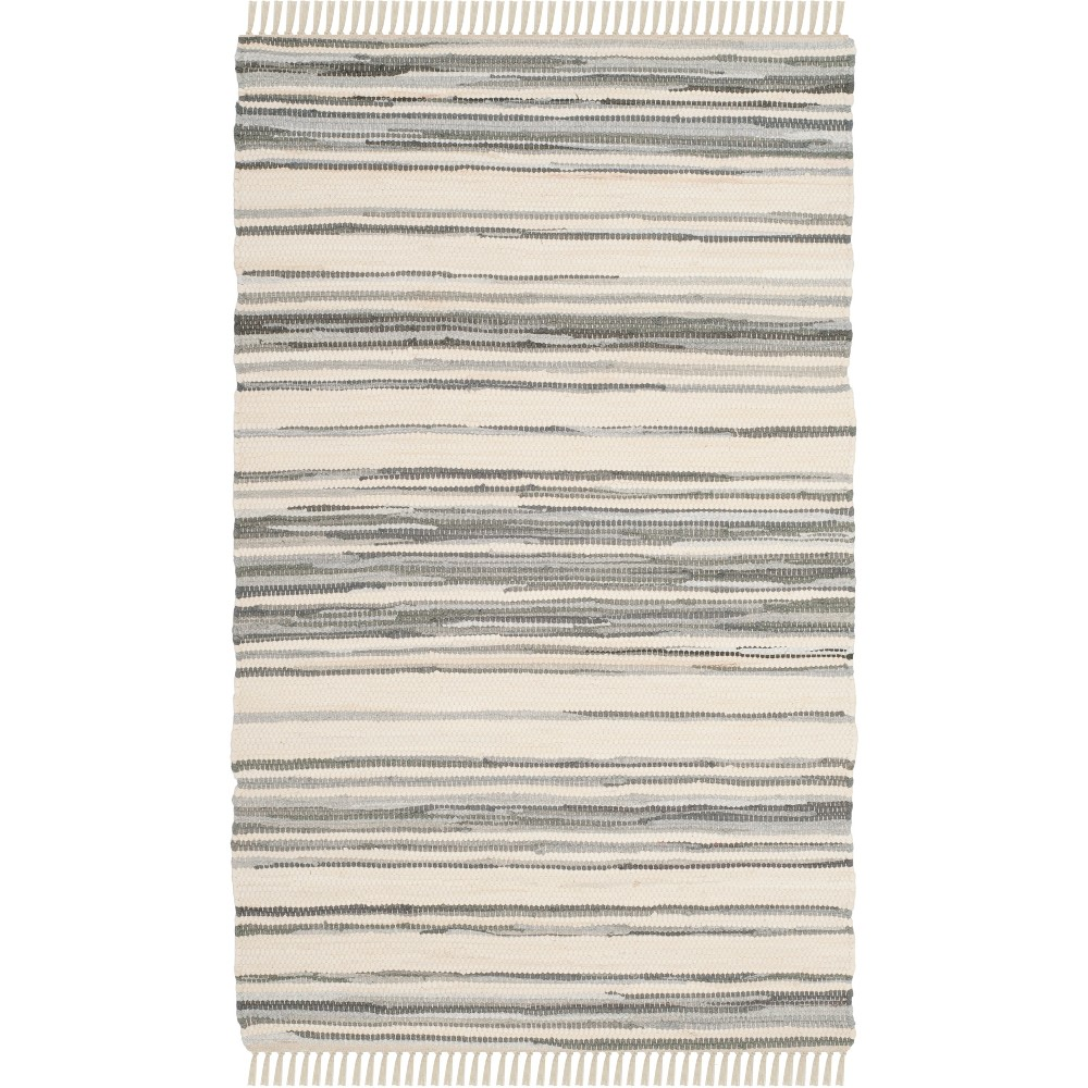 2'X3' Stripe Woven Accent Rug Ivory/Gray - Safavieh