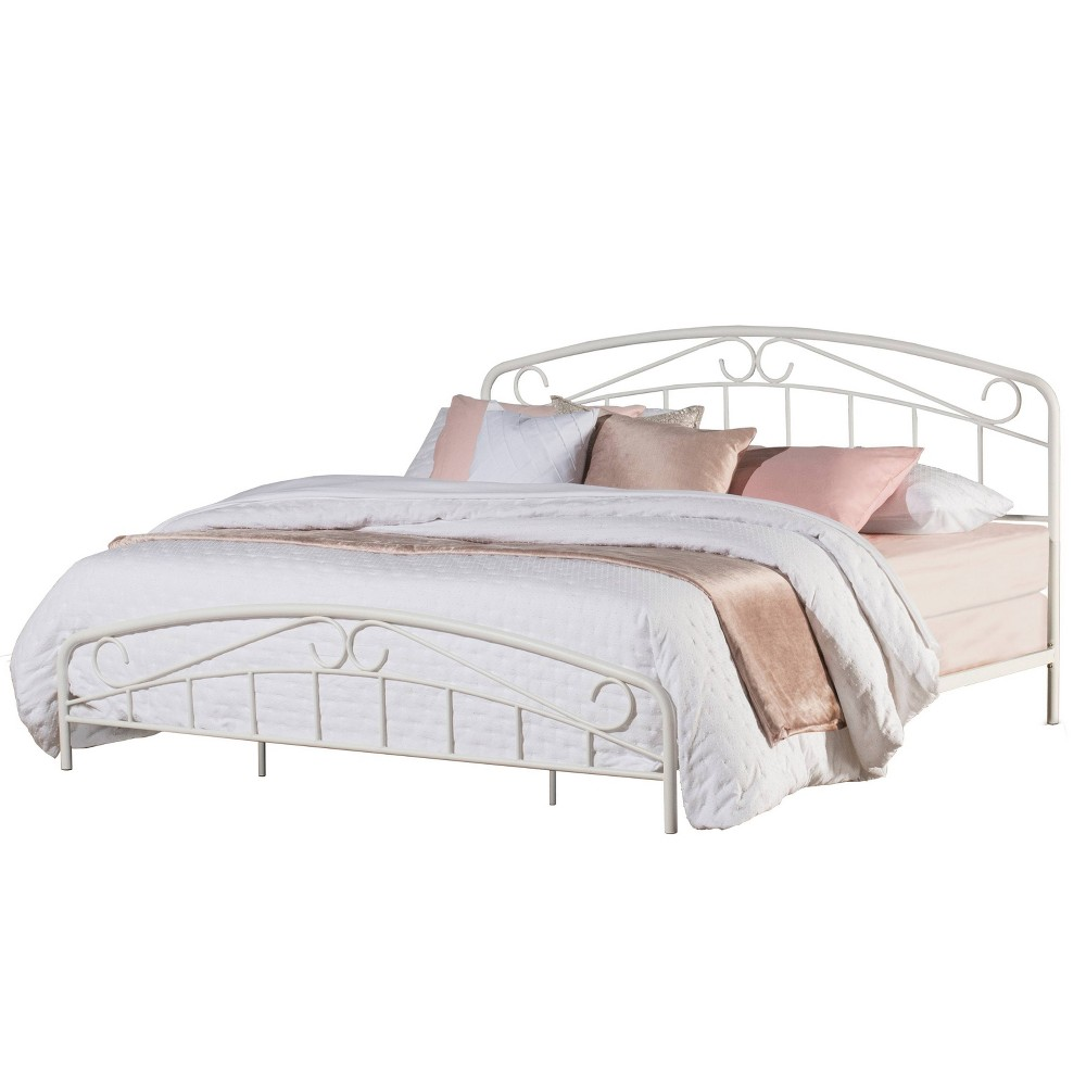 King Jolie Metal Bed With Arched Scroll Design White Hillsdale Furniture