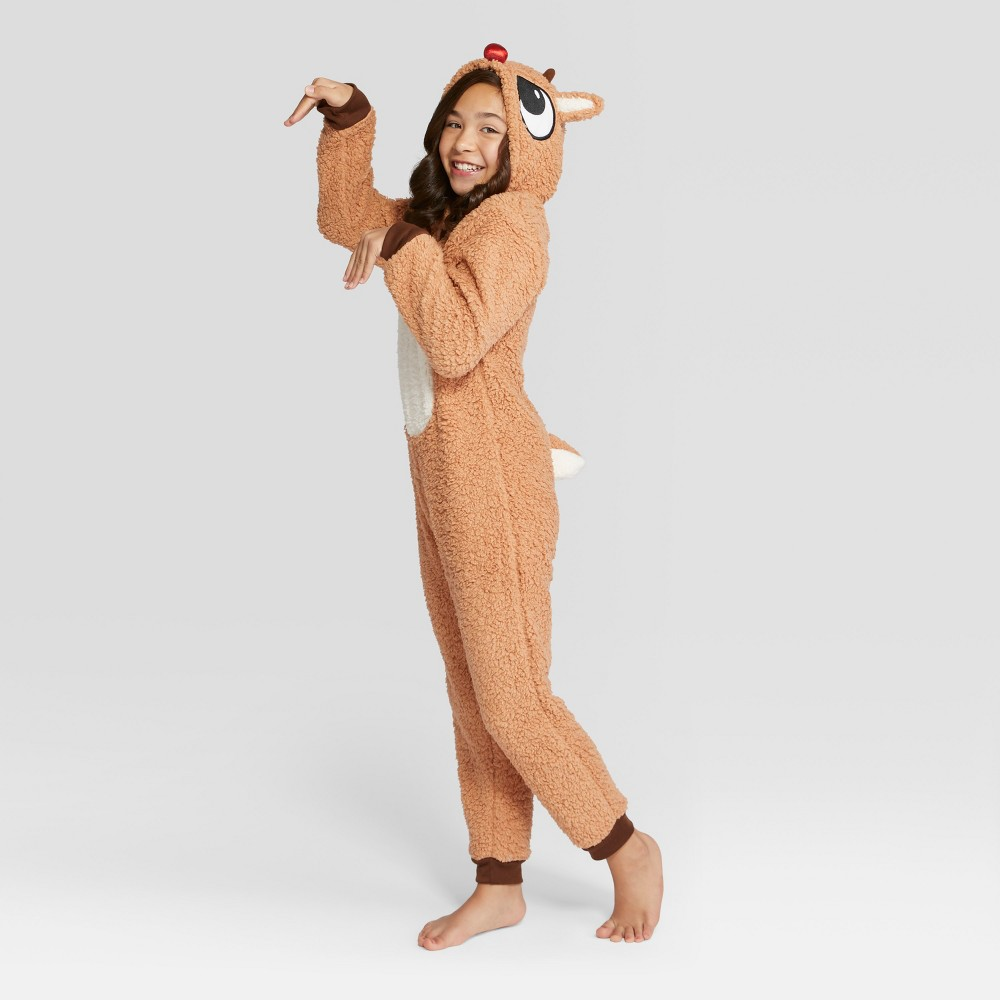 Kids' Rudolph the Red-Nosed Reindeer Holiday Union Suit - Brown 10, Kids Unisex