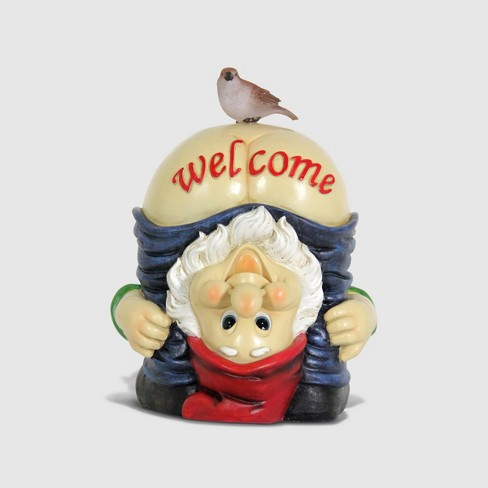 """12"""" Resin Solar Full Moon Gnome Welcome Sign - Exhart - image 1 of 2"""