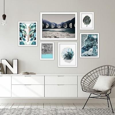 Americanflat Contemporary Blue-Grey 6 Piece Framed Art Set by Emanuela Carratoni