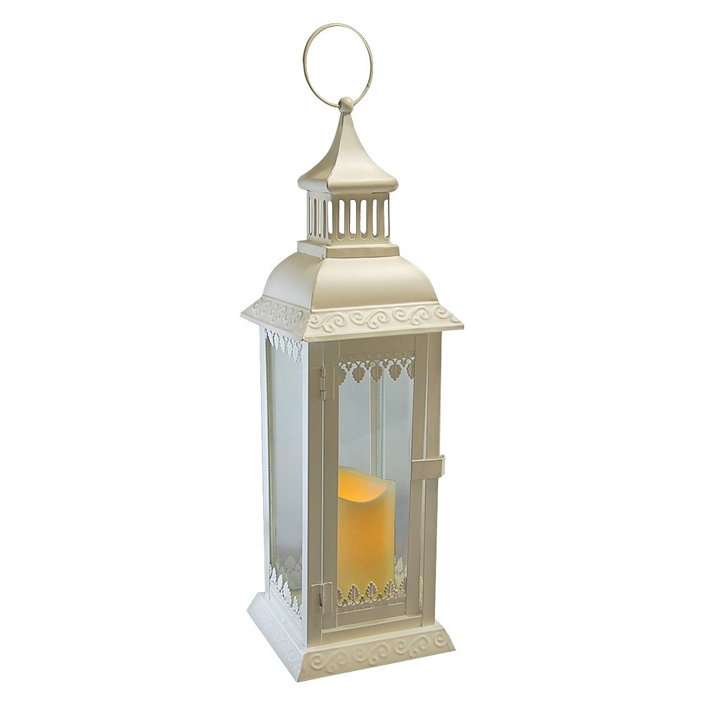 Image of Leaf Metal LED Lantern with Battery Operated Candle White