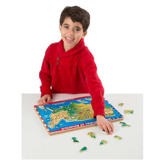 Melissa & Doug USA Map Sound Puzzle - Wooden Peg Puzzle With Sound Effects (40pc) image number null