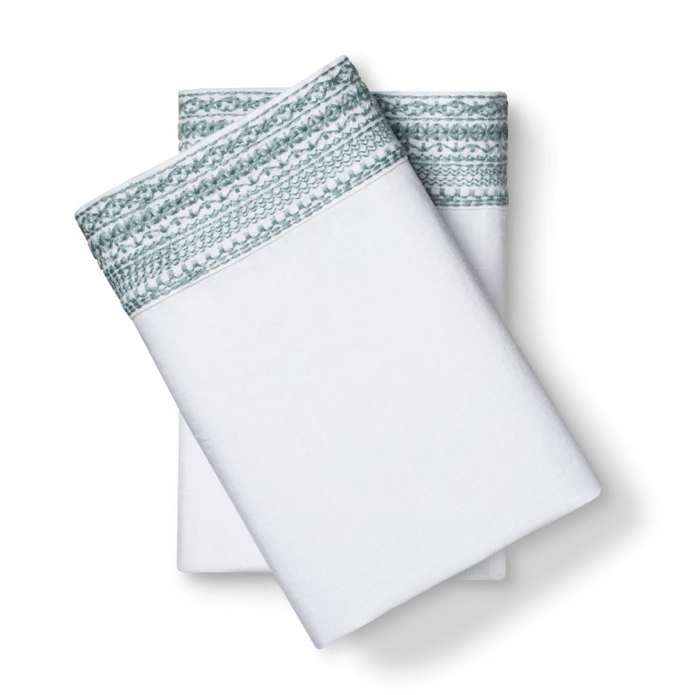100% Linen Pillowcases (King) Aqua Spill - Fieldcrest