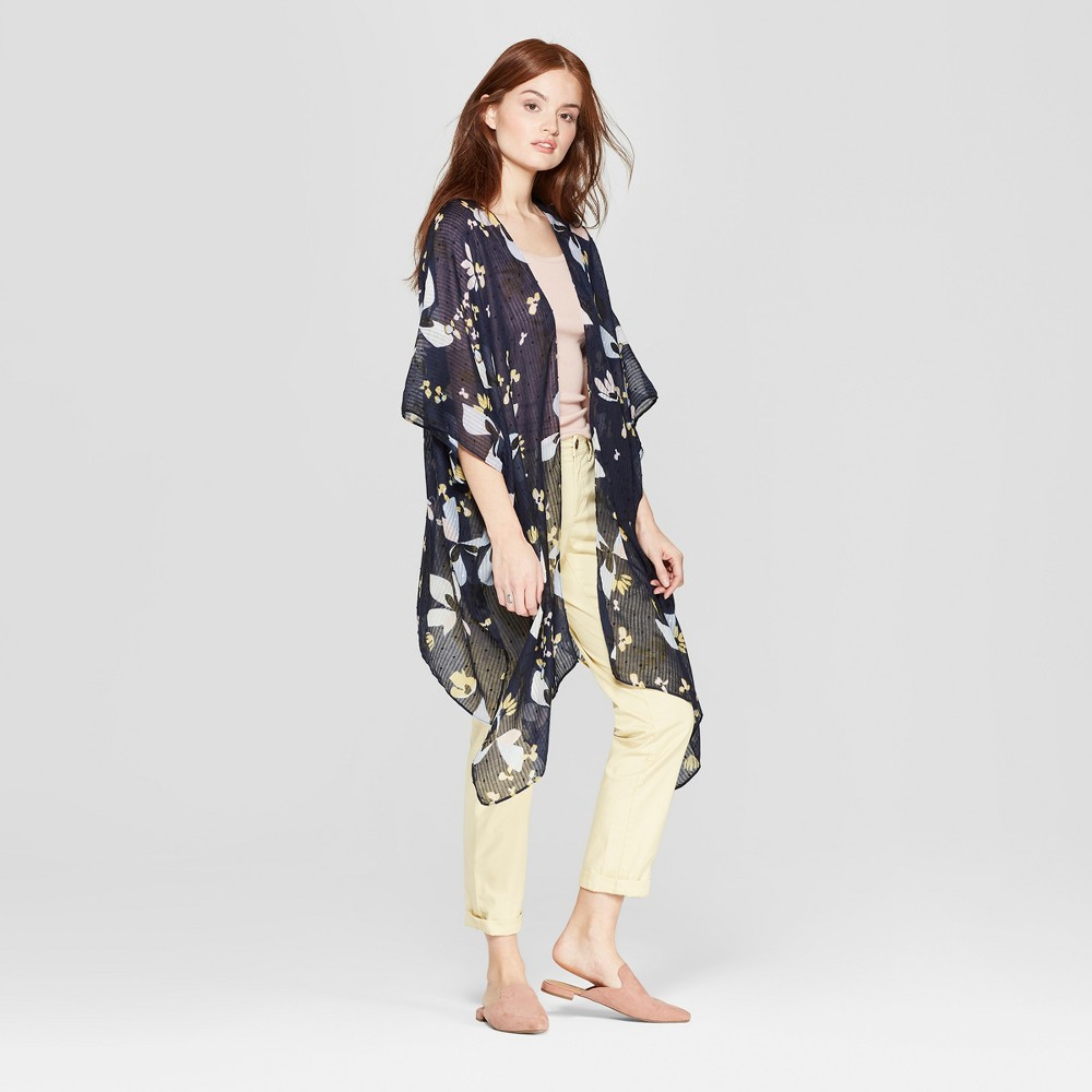 Women's Floral Print Lightweight Kimono Jacket - A New Day Navy (Blue)
