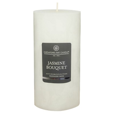 6  x 3  Satin Pillar Candle Jasmine Bouquet - Chesapeake Bay Candle